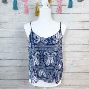 Francesca's Navy Paisley Tiered Tank Size Small